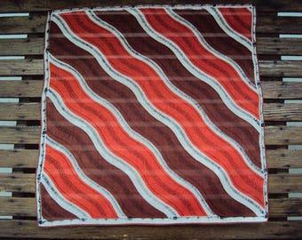Vtg. Abstract/Deco Hanky, Orange Brown Hokie Colors