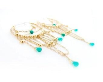 Emerald Hoop Earrings, Gold Hoops, Green Earrings, Gold Chandelier Earrings, Pearl Hoops, Statement Earrings, Bohemian Art Deco OOAK