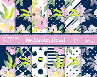 Floral digital paper - Digital scrapbook paper, Preppy girl paper, Watercolor flowers, Navy and Pink paper, Polka dot, Stripes paper, Floral