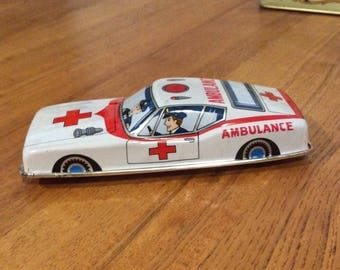 Japan tin police ambulance vintage tin friction toy 1960s