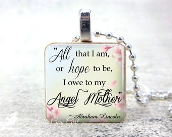 Mothers and Daughters Necklace - Mothers Day Mom Quote Jewelry - Angel Mother Wood Pendant