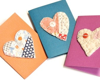 Valentine Patchwork Heart Cards,Vintage Feedsack Quilted Everyday Handmade Primitive Gift Enclosure,Unique Greeting Notecards itsyourcountry