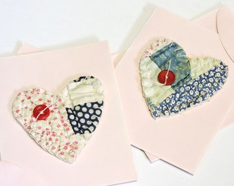 Valentine Heart Cards, Vintage Feedsack Quilt Greeting Blank Notecards,Upcycled Stationery, Handmade Patchwork Cards,Set of 2 itsyourcountry