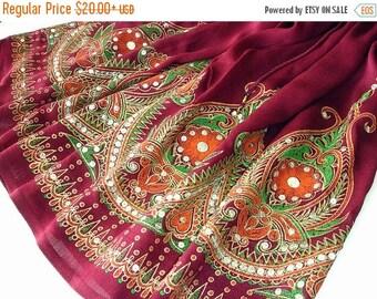 ON SALE Burgundy Mini Skirt: Gypsy Skirt, Boho Skirt, Short Flowy Indian Skirt or Bohemian Floral Sequin Cover Up in Burgundy
