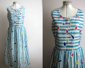 80s Nautical Stripe Cotton Day Dress Large