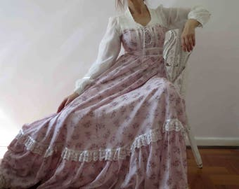 70s Gunne Sax Pastel Lilac Pink White Floral Lace Boho Maxi Dress Small