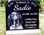 Pet Grave Marker Pet Memorial Plaque Granite Head Stone & *Base Stand* Customized w/ YOUR Pets Photo Outdoor/Indoor Stand Garden Memorial