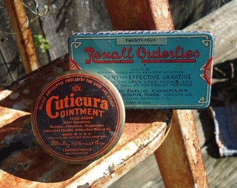 Vintage Lot of Rexall Orderlies Laxative & Cuticura Ointment Tins
