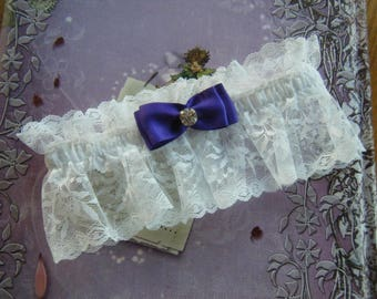 White Lace Garter with Purple Satin Bow and Rhinestone Embelishment