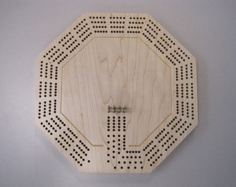 4 Track Maple Octagon Cribbage Board