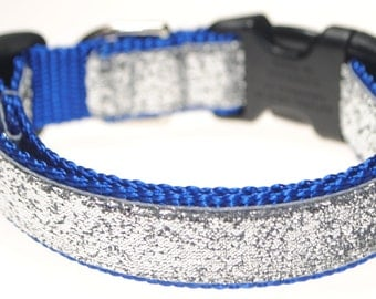 "Silver Glitter on Royal 3/4"" Width Adjustable Collar"