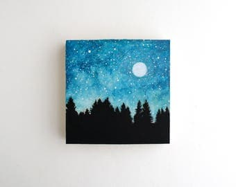 Night Sky Mixed Media Painting - 4 x 4