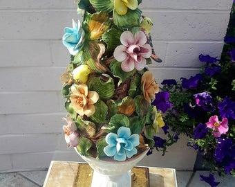 Italian Florentine and Capodimonte Urn Tree Table Lamp Floral With Birds Porcelain Designer Decor