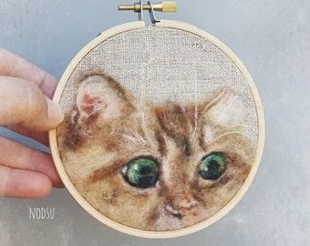 Orange tabby cat, wool painting, needle felted, ginger kitty, original wall art ready to hang, wool hoopla art, cute cat felt fiber painting