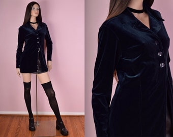 90s Dark Blue Velvet Jacket/ Small/ 1990s/ Long Sleeve