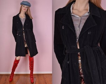 90s Black Corduroy Trench Coat/ Medium/ 1990s/ Jacket