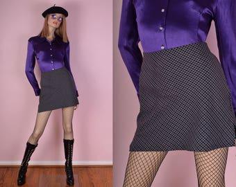90s Plaid Mini Skirt/ US 9/ 1990s