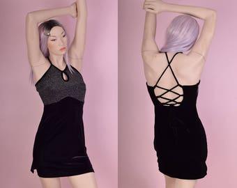 90s Metallic Velvet Mini Dress/ Small/ 1990s/ Halter/ Club/ Party