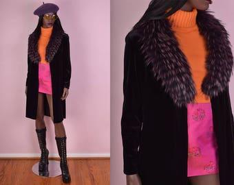 90s Black Velvet Fur Collar Cardigan/ Medium/ 1990s/ Shaggy/ Jacket
