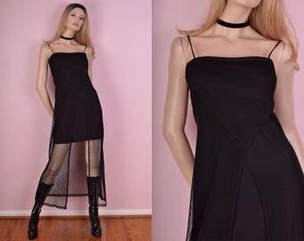 90s Black Mesh Maxi Dress/ Medium/ 1990s