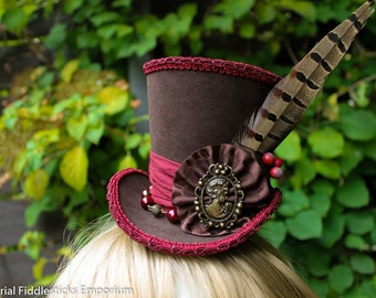 Cranberry Woods, Mini Wonky Top Hat - Handmade - One of a Kind