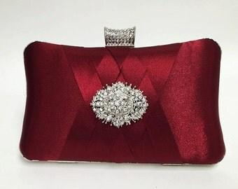 wedding clutch, formal clutch, Red maroon clutch, evening bag, bridesmaid clutch, bridesmaid bag, crystal clutch