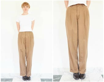 90s Baggy Pleated Brown Cotton Trousers