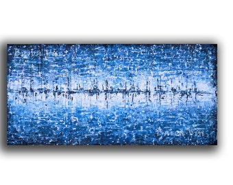 abstract painting Acrylic art blue wall art home office interior bedroom decor large canvas Oil Textured impasto modern Fine Art Visi x