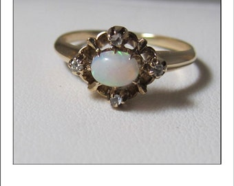 Antique 14k Opal and Diamonds Victorian Ring