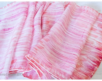 "SALE. Striped Silk Scarf. 11x60"". Pink Silk Scarf. Hand-painted silk scarf. Handpainted silk scarf. Painted silk scarves. Silk Painting"