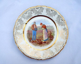 Jean Francois Millet The Angelus Vintage Porcelain Plate Made In Germany
