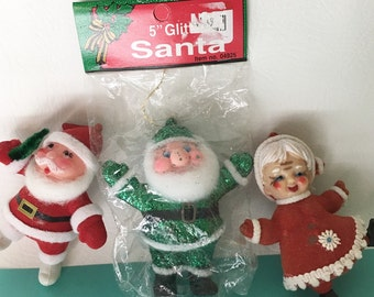 Lot of 3 Vintage Christmas Flocked Santa and Mrs. Claus Ornaments, Glitter Santa New in Package, Retro Holiday Kitsch