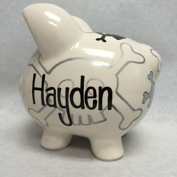 Skull and Cross bone Personalize Piggy Bank