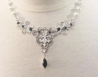Victorian necklace bridal silver black necklace wedding necklace black bridal necklace wedding jewelry bridal jewelry Victorian jewelry