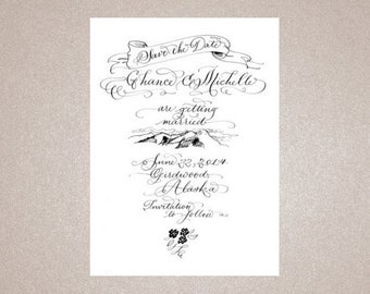 Custom Hand Calligraphy Save the Date with illustration |  C H A N C E