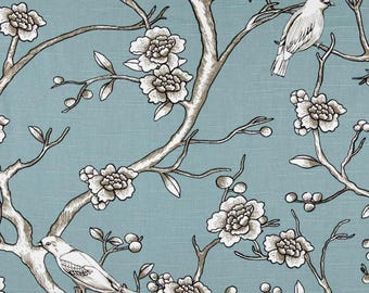 "One 75""L x 72""W Custom Shower Curtain   -   Robert Allen Dwell Studio Vintage Blossom Chinoiserie Toile"
