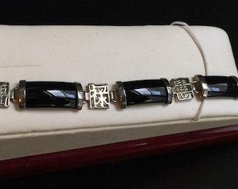 Vintage Asian Bracelet Sterling and Onyx bracelet Elegant Hànzì Kanji Hanja Logogram Asian Characters in Calligrahy Sterling jewelry bargain