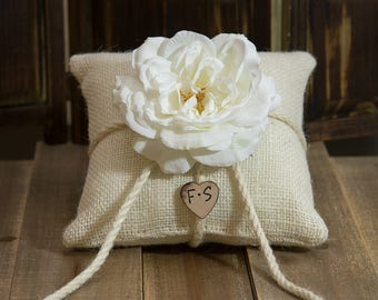 Burlap ring bearer pillow decorated with a white sophia rose personalized with bride and groom initials other flowers to select from