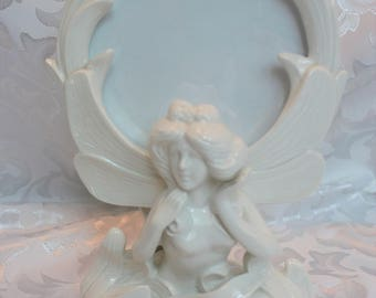 Fitz and Floyd - Round Porcelain Picture Frame -Oriental - Asian - Dragonfly - Art Nouveau - Photo Frame