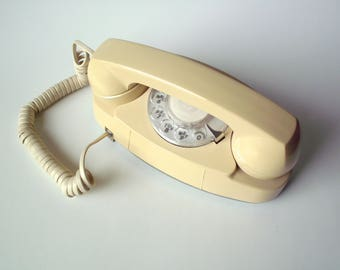 Vintage Bell Princess Rotary Dial Phone, Off White