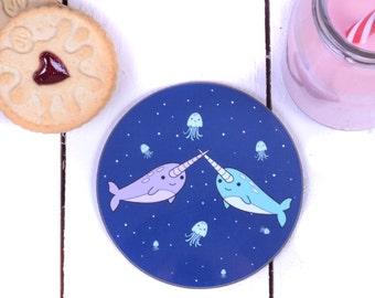 Narwhal Gift - Cute Narwhal - Cute Coaster - Narwhal Coaster - Cute Gift for Teenage Girl - Kawaii Gifts