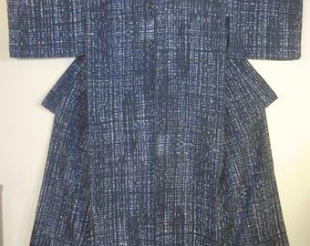 Vintage Midcentury Modern Japanese Men's Yukata - Indigo Blue / White Cotton.
