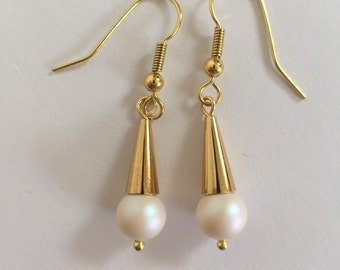 White pearl and gold earrings, gold cone and Swarovski pearlescent white pearl earrings, bridal earrings, wedding jewelry