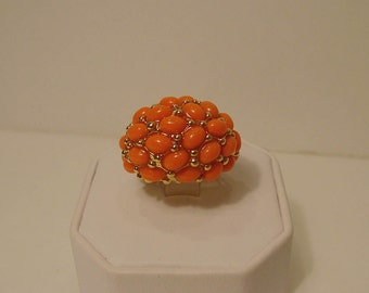 KJL Kenneth Jay Lane Coral Cabochon Dome Ring