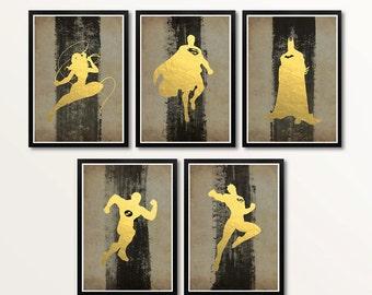 Vintage Justice League Gold Foil Minimalist Art Poster Set
