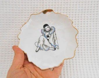 Pierot the Clown Plate Vintage Ceramic  Wall Art
