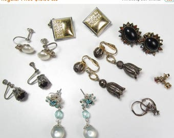 Spring Cleaning SALE Vintage 8 Pair Earrings Lot Dangle Screw Back Black Gold Blue Rhinestones Vtg