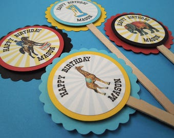 Circus Cupcake Toppers, Vintage Circus Birthday Cupcake Toppers
