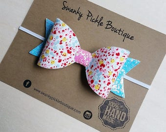 Toddler Hair Bow, Toddler Headband,Fabric Hair Bow,Pink Blue White Yellow,Felt Hair Bow,Baby Headband,Bow Headband