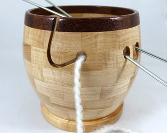 Larger Wooden Hard Maple Knitting Bowl, Lathe Turned, Segmented, Mahogany Rim, As Seen In Knit Wear and Interweave Magazines